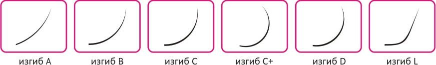 Виды изгибов ресниц (схема)